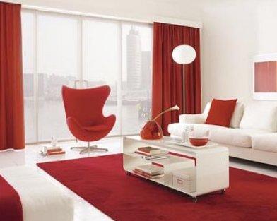 cortinas dobles rojas