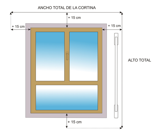 medida cortina roller
